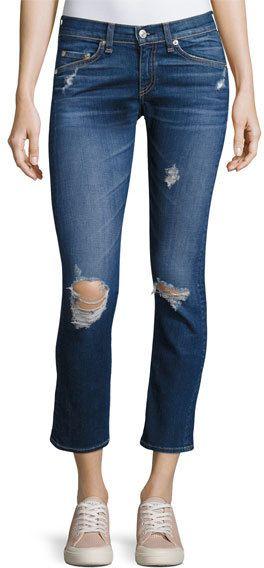 Rag & Bone Distressed Mid-Rise Capri Jeans, Canyon
