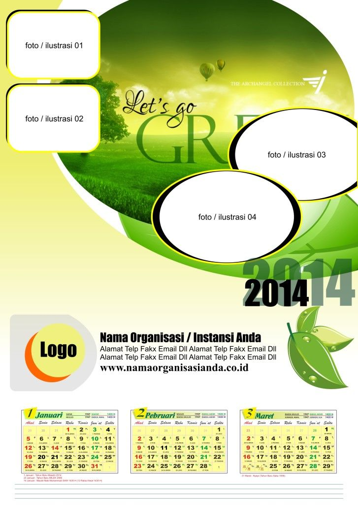 1# Kalender 2014 Green Calendar 2014 Free Download Gratis Kalender 2014…
