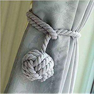 A Pair of Hand Knitting Curtain Rope Clips Holder Holdbacks Tieback with Single Ball (Grey)