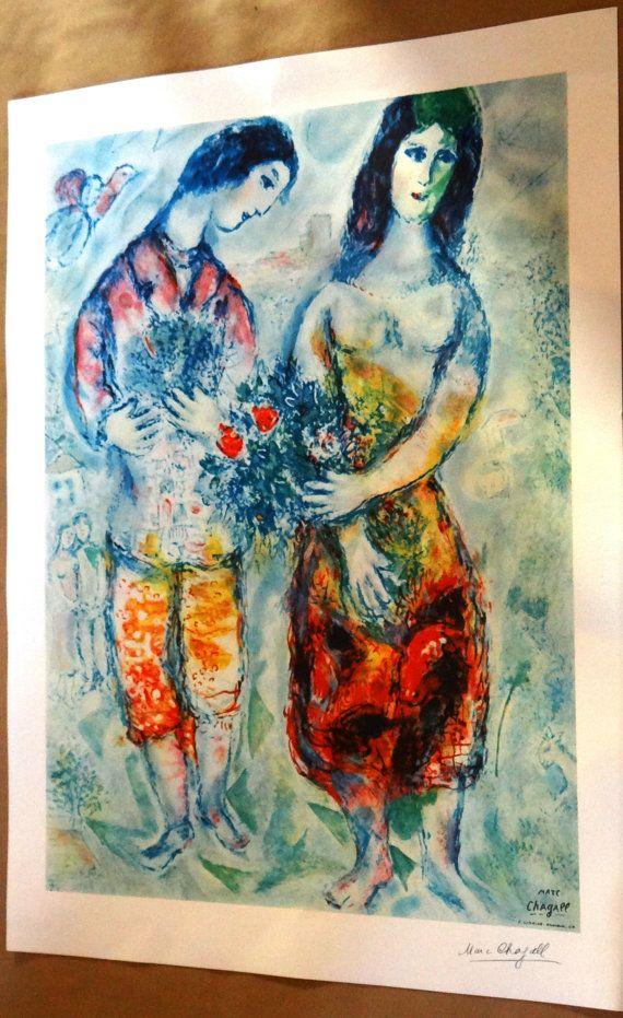 Marc Chagall grand format le couple Bonheur par MarieArtCollection