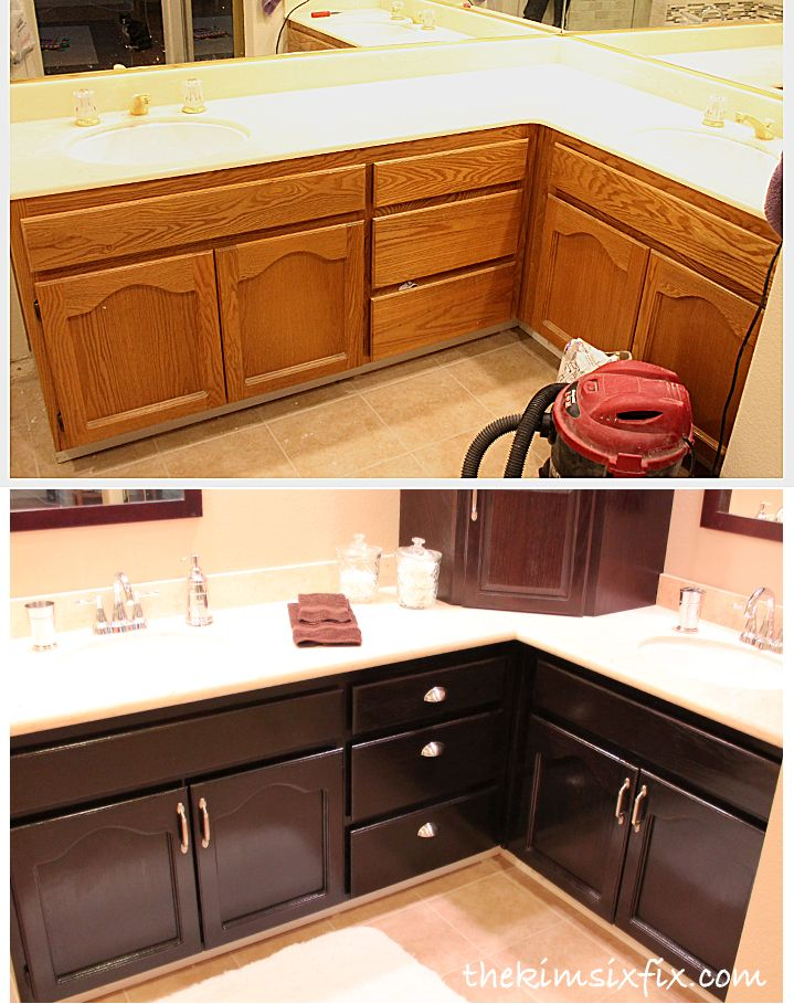 Love this update.  How to stain wood cabinetry.  I love how she added the corner cabinet and individual mirrors.