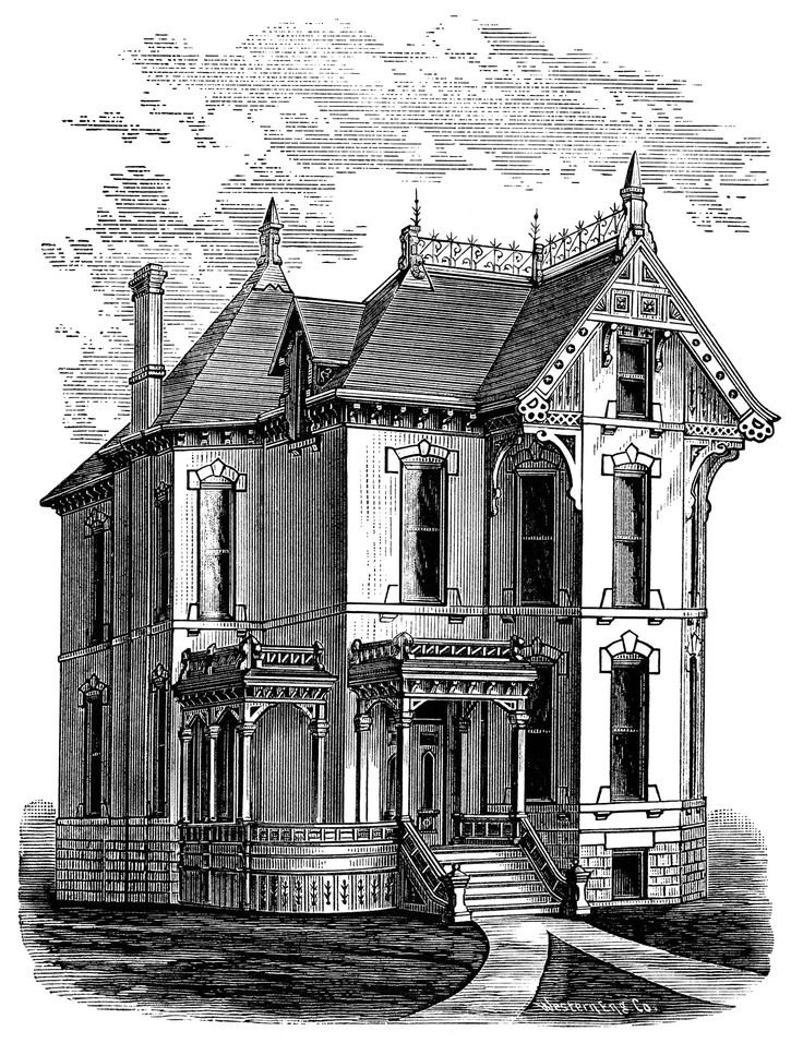 Victorian home clip art, haunted house illustration, spooky house, black and white graphics, Halloween clipart