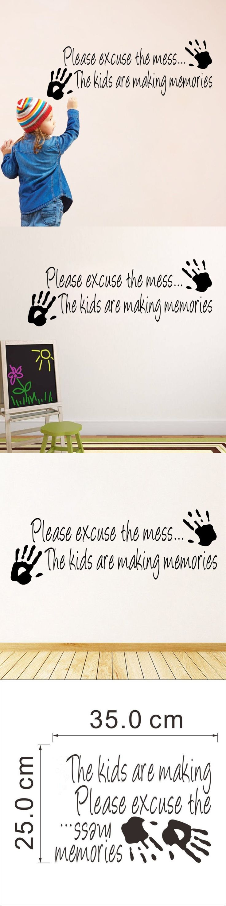 Please excuse the Mess Kids Playroom quotes Vinyl sticker Inspiration Decor Art Home Wall Sticker for Kids Chilren Room A-189 $2.58