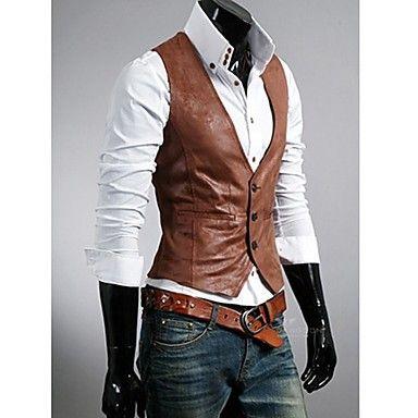 cuero simple chaleco delgado ocasional de los hombres (accesorios al azar) – USD $ 33.79