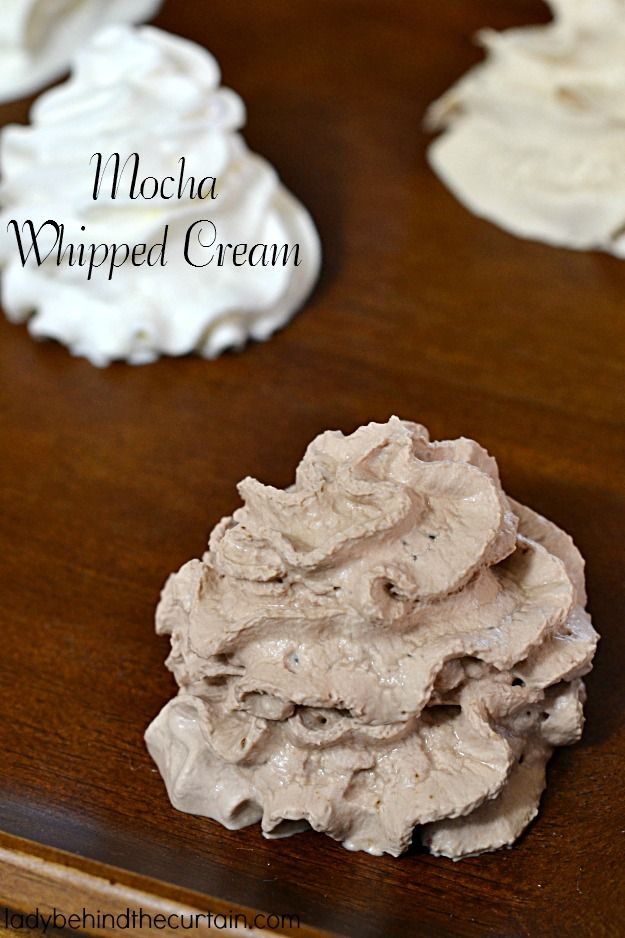 Enhance your coffee with this light and fluffy Mocha Whipped Cream.  This whipped cream can be made with a mixer or a Cream Whipper Tool.  I used my Mosa C