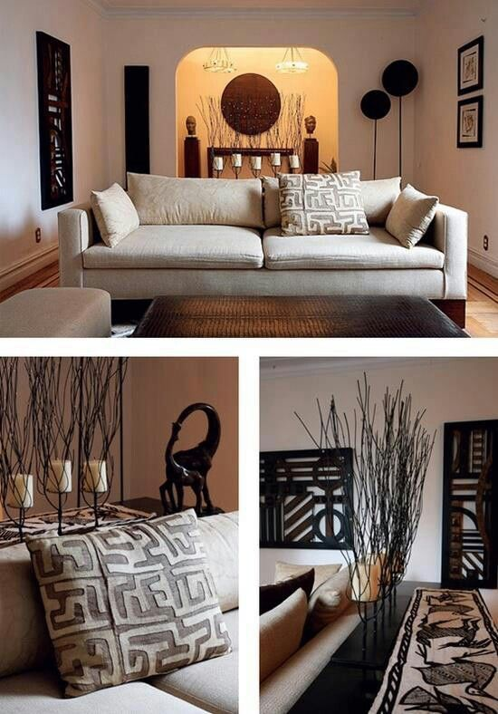 Living Room - African decor - graphic shapes, nature inspired, clean lines...beautiful
