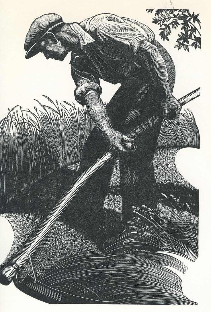 Scything from Four Hedges, by Clare Leighton via Persephone Books