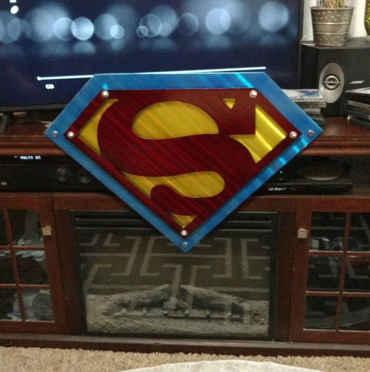 Metal Superman logo. large wall art ETSY handmade Superman wall art. Indoor outdoor sign custom design. wall art home decor in 2020 | Superman ...