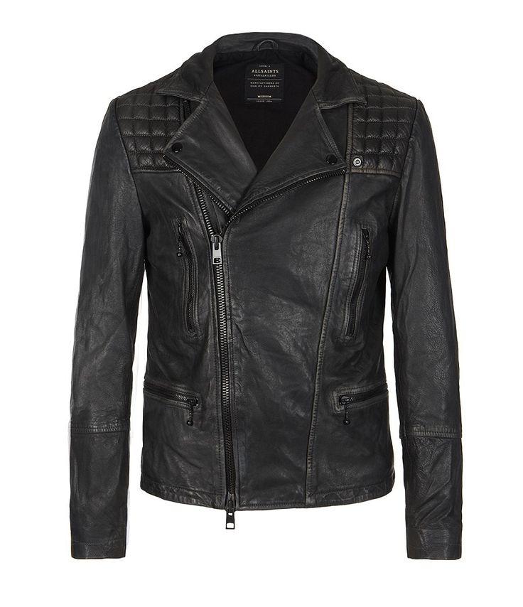 cargo leather biker jacket, men, leathers, allsaints spitalfields