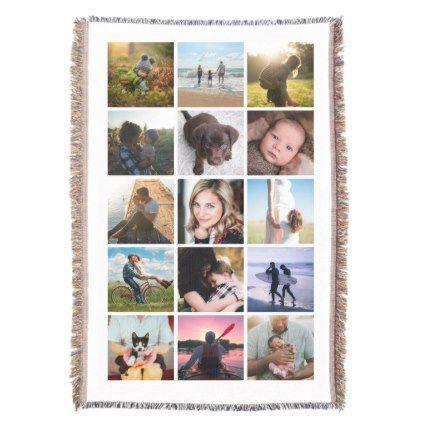 15 Square Photo Collage Keepsake Throw Blanket - college dorm gifts student students accessories freshmen