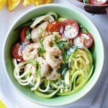 Cremige Zucchini-Spaghetti mit Garnelen