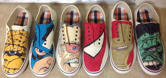Hand Drawn and Inked Canvas Shoes of Marvel, DC, Disney, other Comic Book characters, and More.