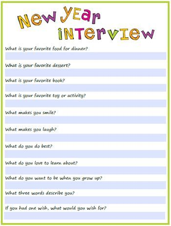 Doing this with the kids today!  new-year-interview