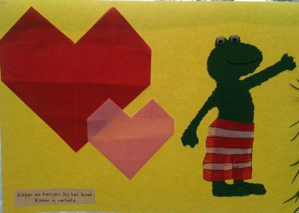 Hartjes vouwen, kikker prikken en broek kleuren en knippen bij het boek Kikker is verliefd.