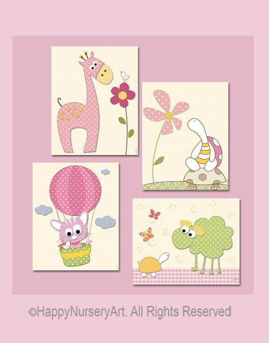 Baby girl nursery art prints set of 4 giraffe by HappyNurseryArt