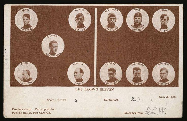 nice 1905 BOSTON POSTCARD BROWN UNIVERSITY IVY LEAGUE FOOTBALL DARTMOUTH