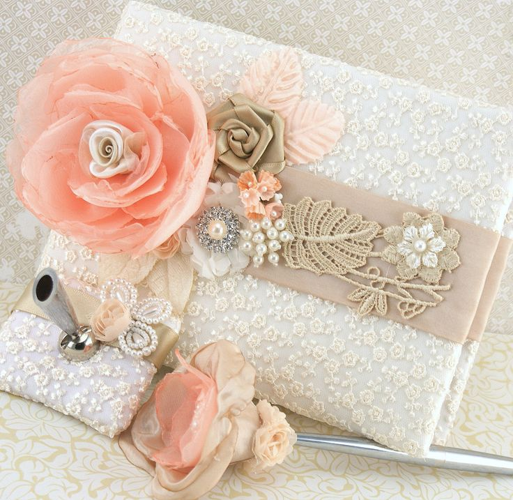 Wedding Guest Book and Pen Set Signature Book in Ivory, Blush, Peach, Coral and Champagne with Lace and Pearls. $140.00, via Etsy.
