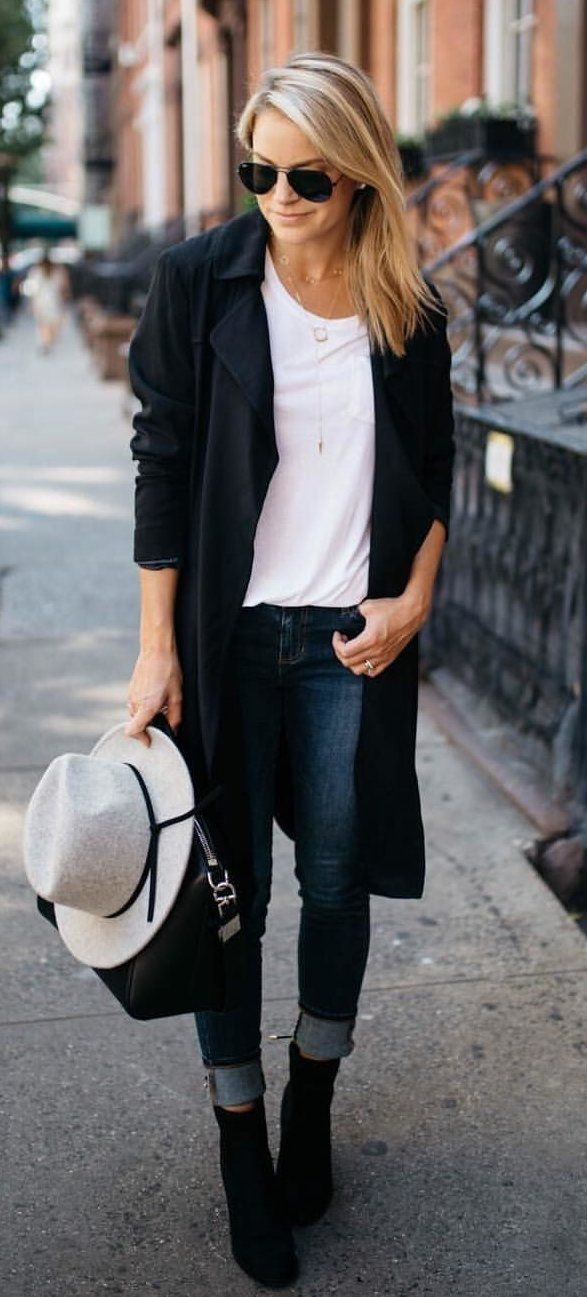 #fall #outfits women's black cardigan and black framed aviator sunglasses