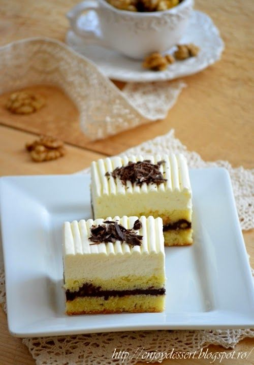 Cake with chocolate, nuts, and yogurt mousse.