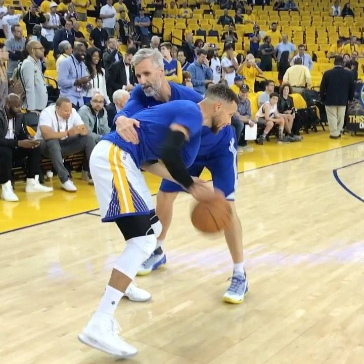LeBron James & Steph Curry hit the floor to warm up for Game 1 of the 2017 #NBAFinals on ABC!