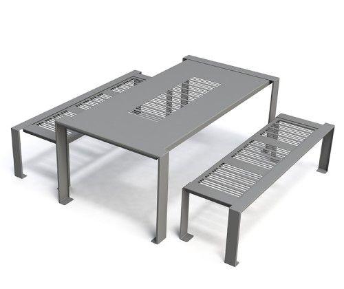 Guyon table pique nique metal basik mobilier urbain for Table exterieur acier
