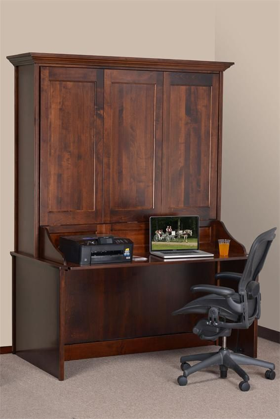 Vertical Wall Murphy Bed with Desk