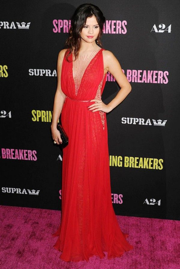 Selena Gomez Red Dress At La Spring Breakers Premiere Red Carpet in ... cf76556045b3