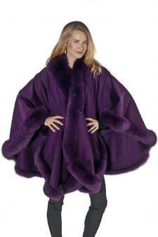 Cashmere Plus Size Fox Trimmed Cape- Purple Plum $995