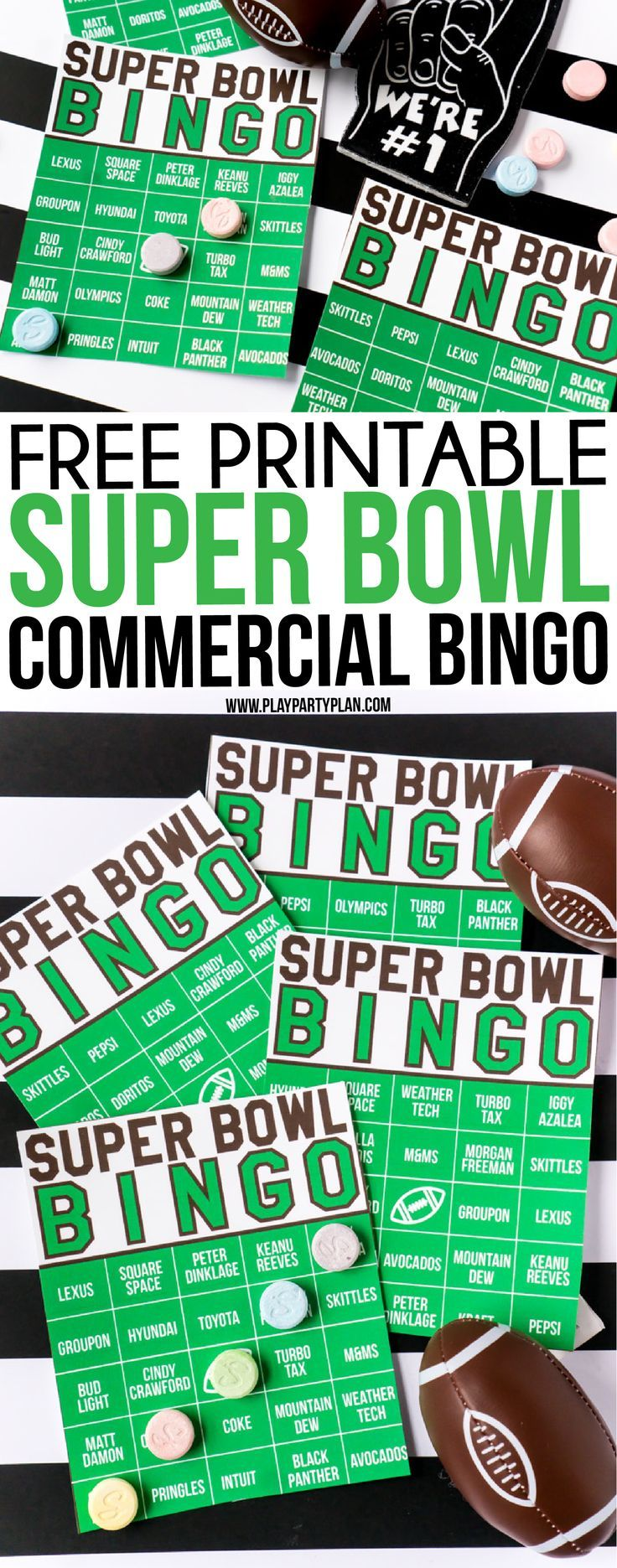 birthday party invitation templates free printable%0A These Super Bowl commercial bingo cards are one of the best Super Bowl party  games ever  Just print out the printables  hand out on Super Bowl Sunday