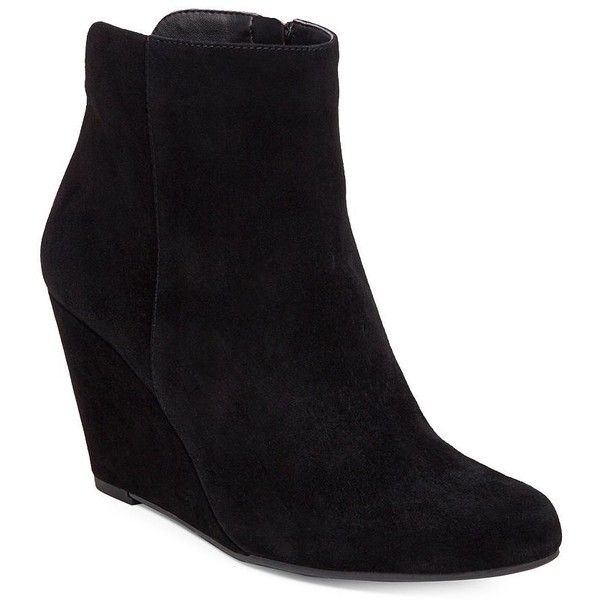 Jessica Simpson Ronica Suede Ankle Wedge Booties (1,665 MXN) ❤ liked on Polyvore featuring shoes, boots, ankle booties, black, suede wedge booties, black wedge booties, black suede boots, wedge boots and suede ankle booties
