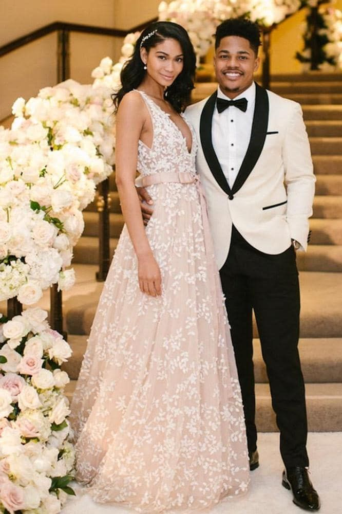 f5ef08e0489 Chanel Iman married Sterling Shepard at the Beverly Hills Hotel in Los  Angeles wearing Zuhair Murad.