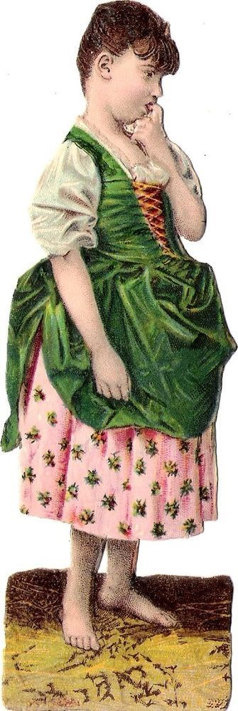 Oblaten Glanzbild scrap die cut chromo Kind child  14,5 cm Lady Dame