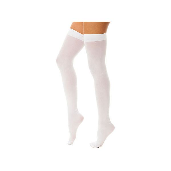Intimates Boutique Thigh High Opaque in White ($100) ❤ liked on Polyvore featuring intimates, hosiery, socks, white hosiery, thigh high hosiery, white socks, opaque hosiery and white thigh high socks