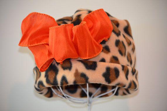 Chicas Hat - Sombrero de paño grueso y suave de la muchacha - Leopard impresión tapa - Cloche con lazo naranja