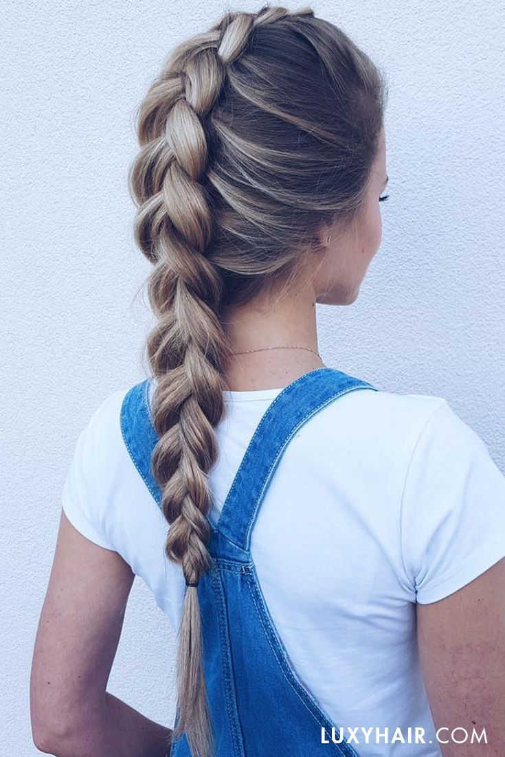 Overalls & dutch braids ♥ Our beautiful customer /ewka/.was is wearing her 160g Dirty Blonde #luxyhairextensions in this photo.