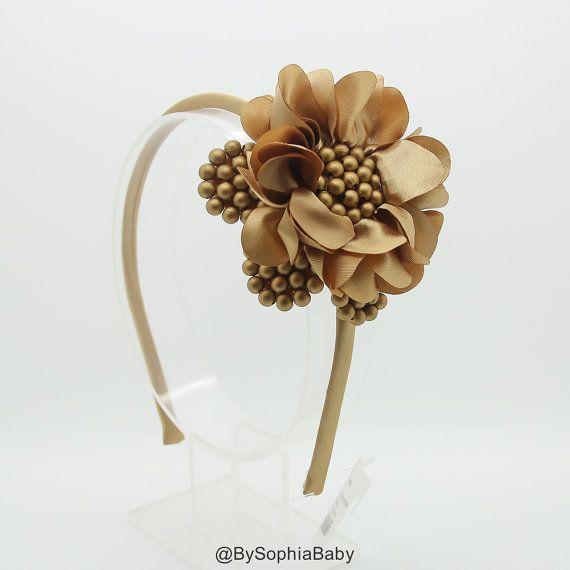 Girls Headband,  Girls Hard Headband, Gold Headband, Photo Prop, Big Flower…