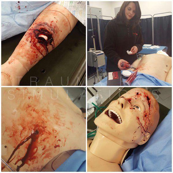 Trauma FX #mua @joannaparvin providing realistic #wound simulations on #SimMan @Laerdal_UK #SIMWOUNDS #SIMSLEEVES