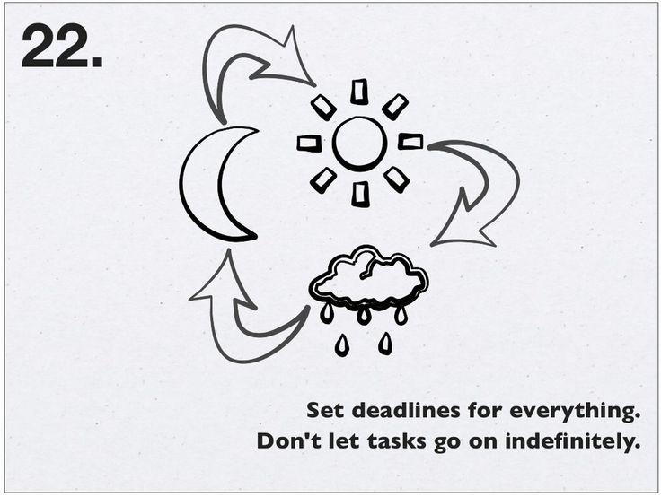 """SET DEADLINES! Without them, things don't get done (see """"Parkinson's Law"""")"""