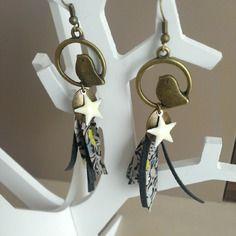 "Boucles d'oreilles ""little bird"" bronze et gris"