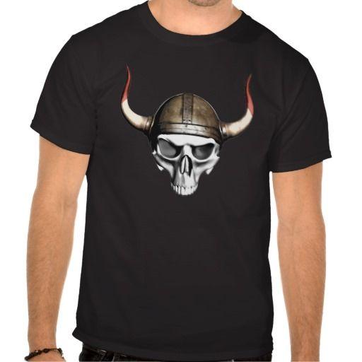 Viking Skull T Shirts. Skull wearing horned Viking helmet