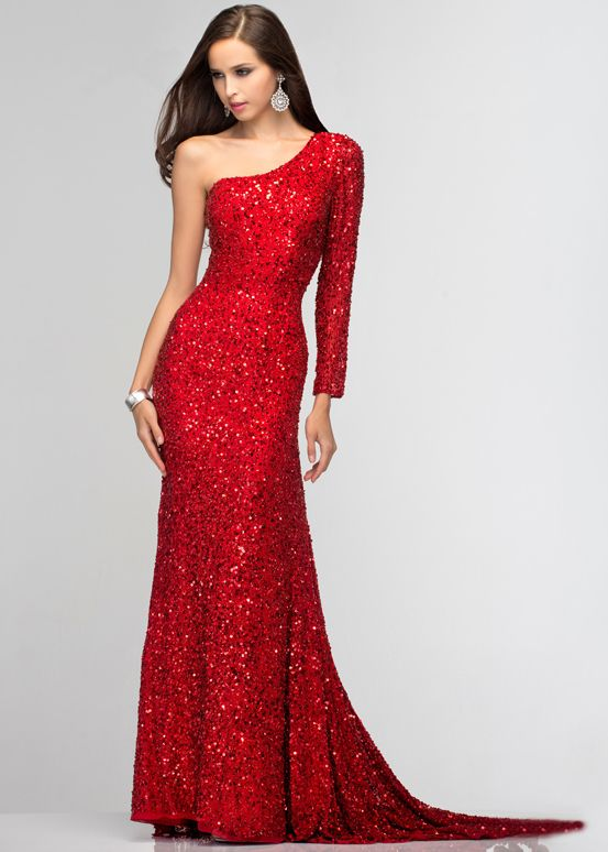 Another one of our Best Sellers - Red One Shoulder/Sleeve Beaded Sequin Evening Gown - Red Prom Dresses - Thepromdresses.com