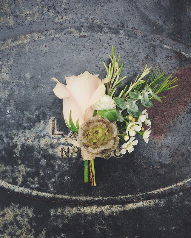 """Alex's natural, rustic buttonhole with quicksand rose, scabious, waxflower, eucalyptus and rosemary 💗 . : #wedding #weddingday #weddingflowers #weddingflorist #weddingfloristessex #weddingsetup #essexweddingflorist  #essexweddingvenues #essexwedding #essexflorist #floristlife #urnarrangement #vaultymanor #amatchmadeinbevan #buttonhole #groom"" by @hannahlouise_flowers. #bridalstyle #weddingfashion #weddingdream #weddingidea #bridalinspiration #bridalinspo #rusticwedding #невеста #prewedding…"