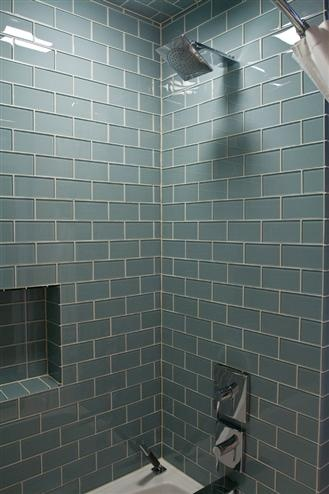 Love this tile! Ocean Grey Blue glass tile shower: Found at http:/