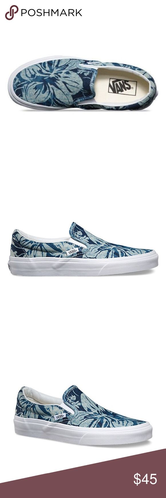 Indigo Tropical Slip-on Vans NWOT they're Super cute! (6.5 in Women's) Vans Shoes Sneakers