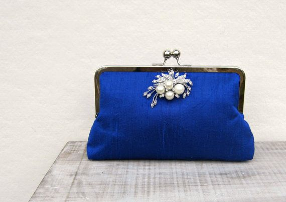 Royal blue clutch bag royal blue and pearl by ConstanceHandcrafted, $55.00