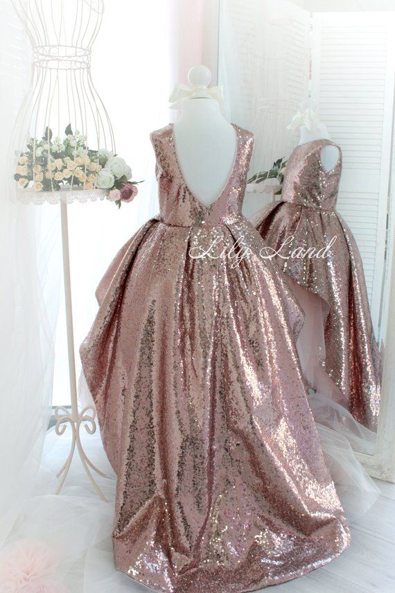 Rose Gold sequin Girl dress with train tutu dress girls dress for baby dress  with sparkling tutu dre a61f33c96170