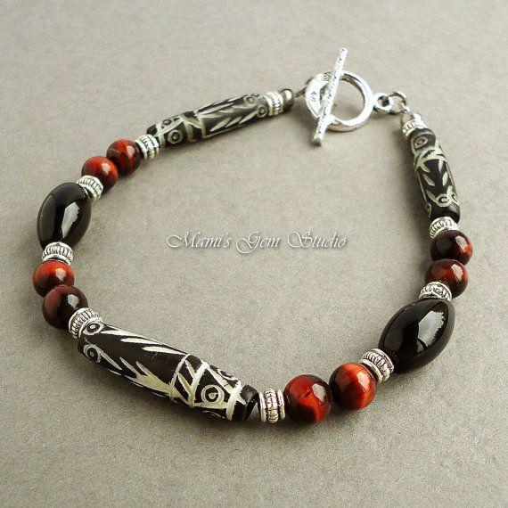 Mens Tribal Bracelet with Carved Bone Black Onyx
