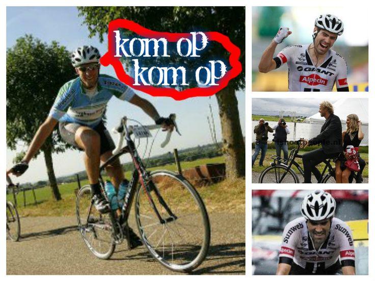 Motivatie: wanneer je op je gewone fiets probeert de berg op te fietsen en zo'n overfitte wielrenner gaat je aanmoedigen!