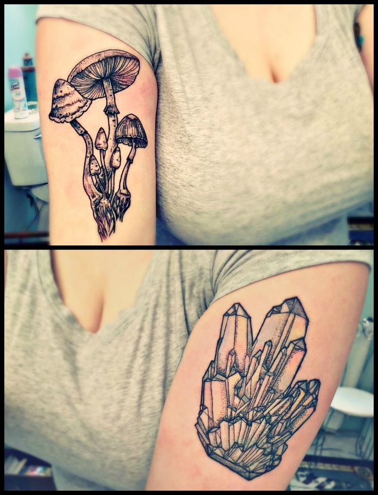 Mushroom cluster on the right and angel aura quartz cluster on the left.  A big thanks to Airynn Monroe at Wicked Good Ink, LLC in Portland, Maine.  submitted by http://gazing-at-st4rs.tumblr.com