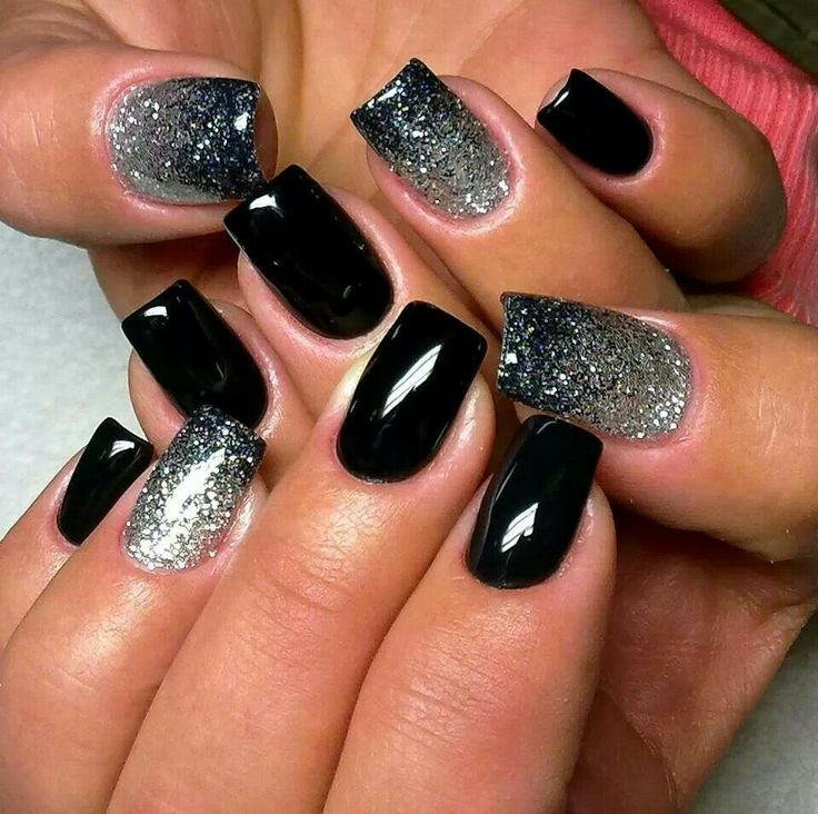 Shiny black gel w'sparkly silver snow storm nails